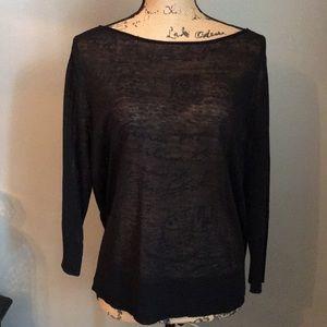 Eileen Fisher Open Weave Linen Top Black
